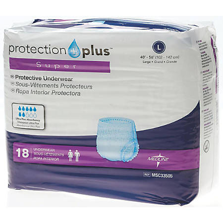"Protection Plus Super Protective Disposable Underwear, Large, 40 - 56"", White, 18 Per Bag, Case Of 4 Bags"