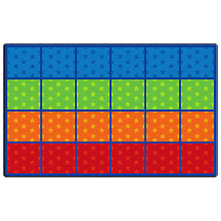"Flagship Carpets Cushy Tushy Stars Seating Rows Carpet, Rectangle, 7' 6"" x 12', Multicolor"