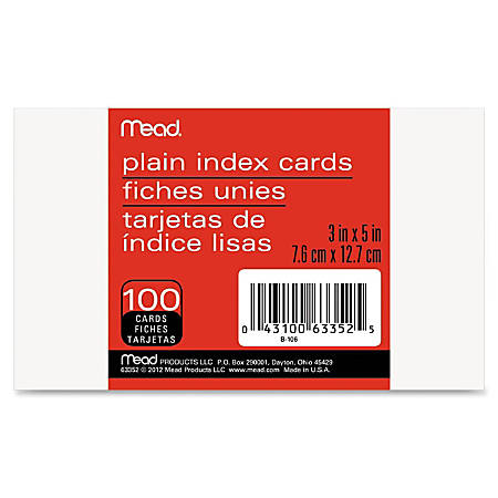 """Mead 90 lb Stock Index Cards - Plain - Unruled - 5"""" x 3"""" - White Paper - 100 / Pack"""