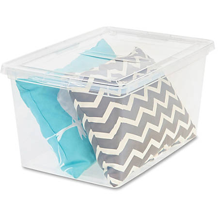 """I.R.I.S. Deep Modular Snap-tight Lid Clear Box - External Dimensions: 24"""" Length x 16.3"""" Width x 14"""" Height - 17 gal - Stackable - Clear - For Blanket, Comforter - 6 / Carton"""