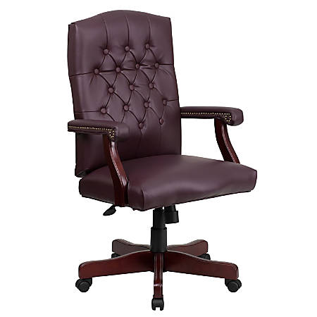 Flash Furniture Martha Washington Leather High-Back Swivel Office Chair, Burgundy