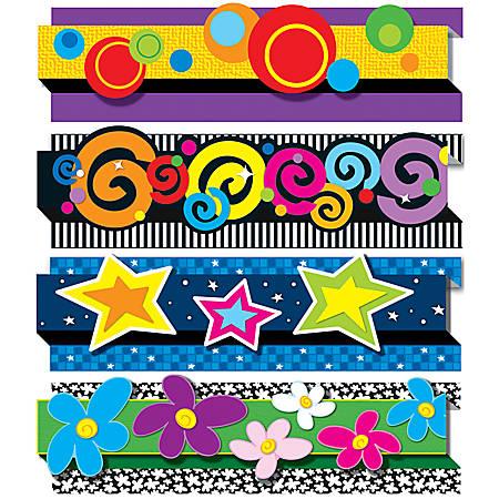 """Carson-Dellosa Pop-Its™ Borders Sets — Decorative Designs, 3""""H x 36""""L, Pack Of 4"""
