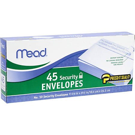 "Mead Press-it Seal-it No. 10 Security Envelopes - Security - #10 - 4 1/8"" Width x 9 1/2"" Length - Peel & Seal - 45 / Box - White"