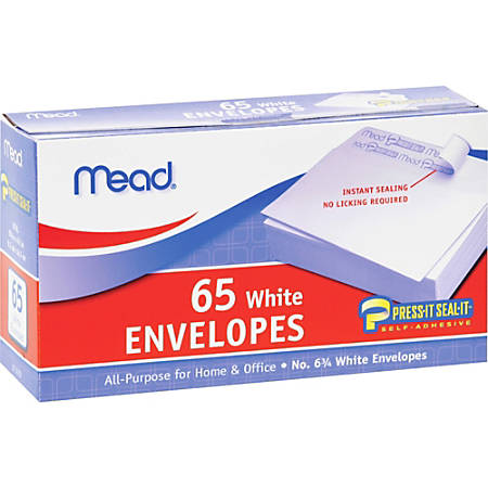 "Mead No.6.75 All-purpose White Envelopes - Business - #6 3/4 - 3 5/8"" Width x 6 1/2"" Length - Self-sealing - 65 / Box - White"