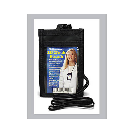 """Baumgartens ID Neck Pouch, Convention, Adjustable 48"""" Cord, 2 1/4""""x 3 1/2"""", Black"""