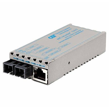 miConverter 10/100/1000 Gigabit Ethernet Fiber Media Converter RJ45 SC Multimode 550m - 1 x 10/100/1000BASE-T; 1 x 1000BASE-SX; Euro. AC Powered; Lifetime Warranty