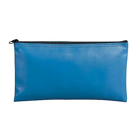 "MMF Industries Leatherette Vinyl Zipper Wallets, 11"" x 6"", Wedgewood Blue, Pack Of 3"