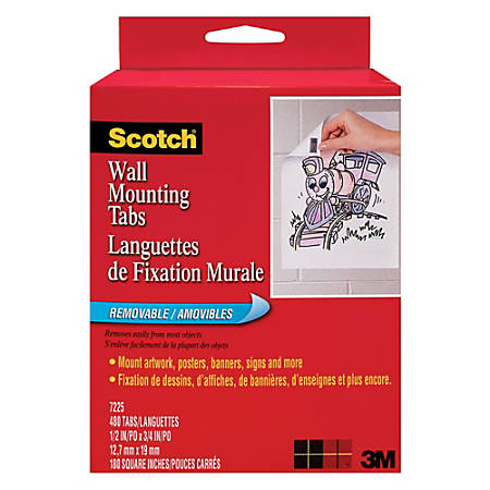 """Scotch® Wall Mounting Tabs, 1/2"""" x 3/4"""", Pack Of 480"""