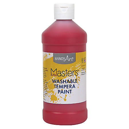 Handy Art 16 oz. Little Masters Washable Tempera Paint - 16 fl oz - 1 Each - Red