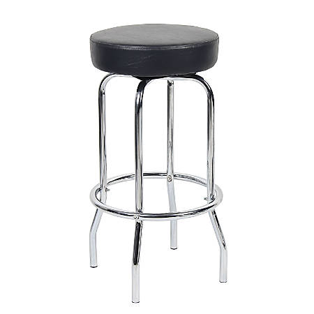 Boss Office Products Stool With Foot Ring, Black/Chrome