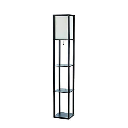 "Simple Designs Etagere Organizer Floor Lamp, 63 3/8""H, Linen Shade/Black Base"