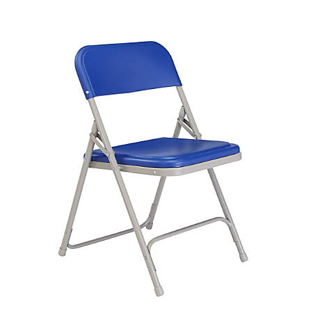 National Public Seating Lightweight Plastic Folding Chairs, Blue/Gray, Pack Of 4
