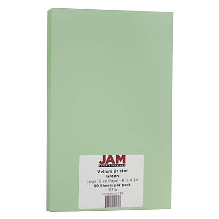 "JAM Paper® Cover Card Stock, 8 1/2"" x 14"", 67 Lb, Vellum Bristol Green, Pack Of 50 Sheets"