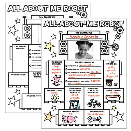 Scholastic Instant Personal Posters All About Me Robot by Office ...
