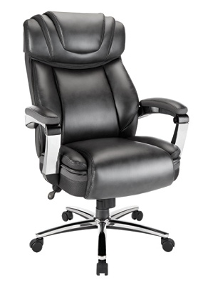 Reale Axton And Tall Bonded Leather High Back Chair Dark Graychrome By Office Depot Officemax