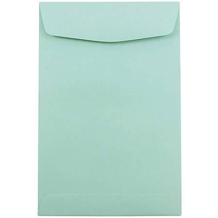 "JAM Paper® Open-End Catalog Envelopes With Gummed Closure, 6"" x 9"", Aqua, Pack Of 25"