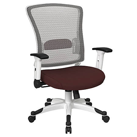 Office Star™ Space Seating Mesh Mid-Back Chair, Burgundy/White