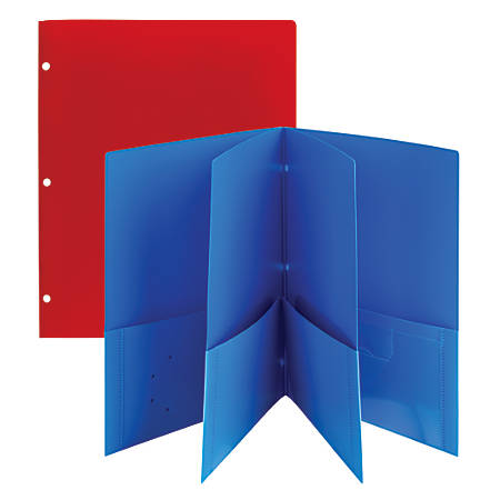 "Office Depot® Brand 6-Pocket Poly Portfolios, 8 1/2"" x 11"", Assorted Colors, Pack Of 2"