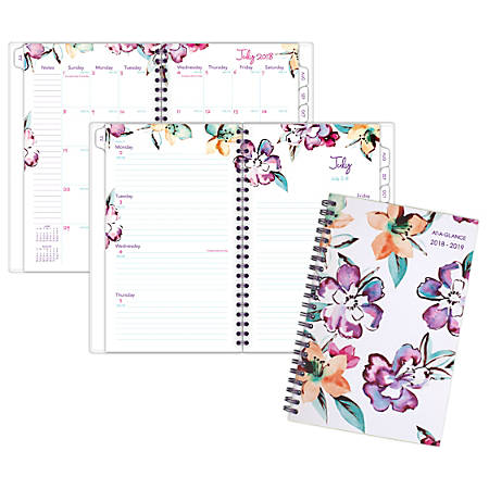 "AT-A-GLANCE® June Weekly/Monthly Academic Planner, 4 7/8"" x 8"", 30% Recycled, Multicolor, July 2018 to June 2019"