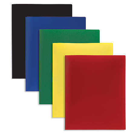 """Office Depot® Brand Poly 2-Pocket Portfolios, 8 1/2"""" x 11"""", Assorted Colors, Pack Of 10"""