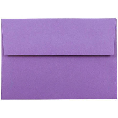"""JAM Paper® Booklet Envelopes With Gummed Closure (Recycled), 4 Bar A1, 3 5/8"""" x 5 1/8"""", 30% Recycled, Violet, Pack Of 25"""