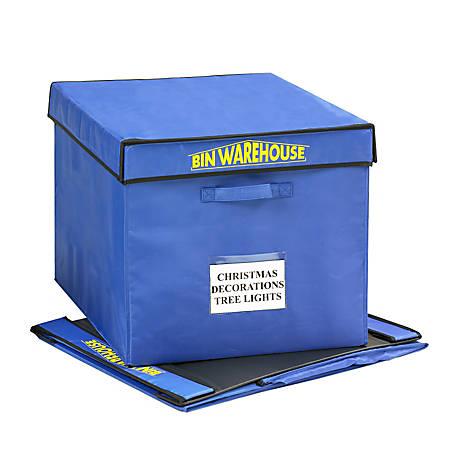 "Bin Warehouse Fold-A-Tote, 22-Gallon Capacity, 15 1/2"" x 16 1/2"" x 20"", Blue, Pack Of 4"