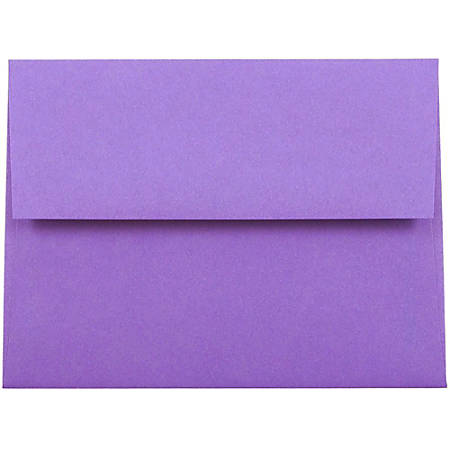 """JAM Paper® Booklet Invitation Envelopes (Recycled), A2, 4 3/8"""" x 5 3/4"""", 30% Recycled, Violet, Pack Of 25"""