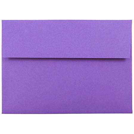 """JAM Paper® Booklet Invitation Envelopes (Recycled), A7, 5 1/4"""" x 7 1/4"""", 30% Recycled, Violet, Pack Of 25"""