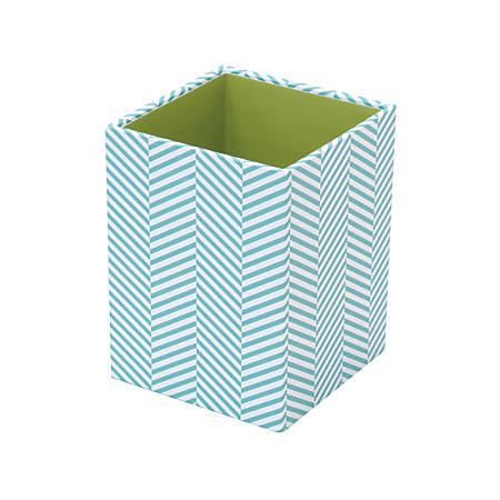 "See Jane Work® Paperboard Pencil Cup, 3""H x 3""W x 4""D, Blue Herringbone"