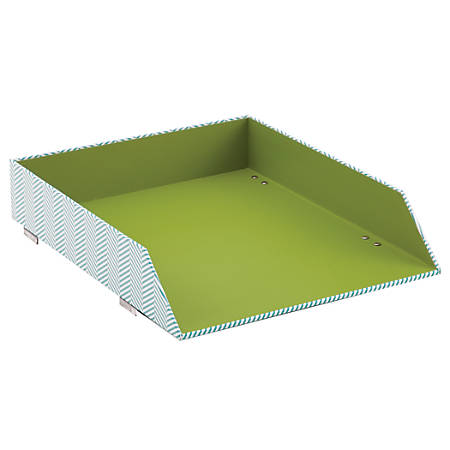 See Jane Work® Stacking Letter Tray, Letter Size, Blue Herringbone