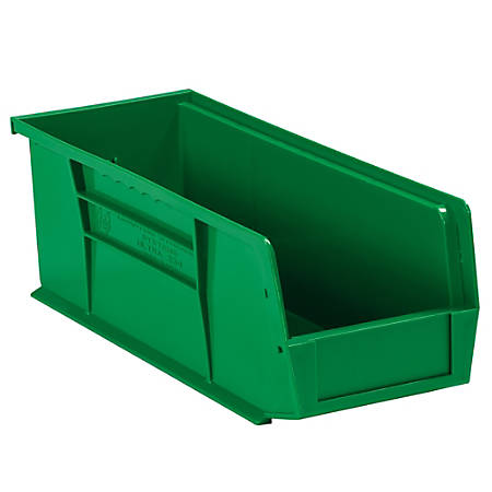 "Office Depot® Brand Plastic Stack And Hang Bin Boxes, 10 7/8"" x 4 1/8"" x 4"", Green, Pack Of 12"