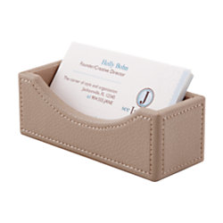 Realspace® Faux Leather Business Card Holder, Tan