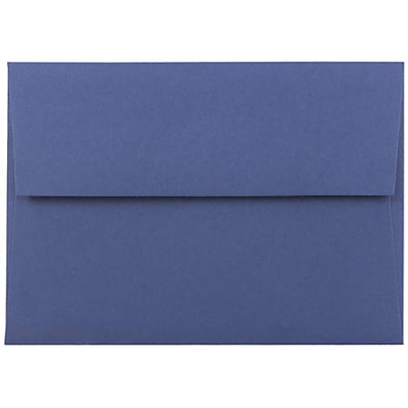 "JAM Paper® Booklet Invitation Envelopes, A6, 4 3/4"" x 6 1/2"", Presidential Blue, Pack Of 25"