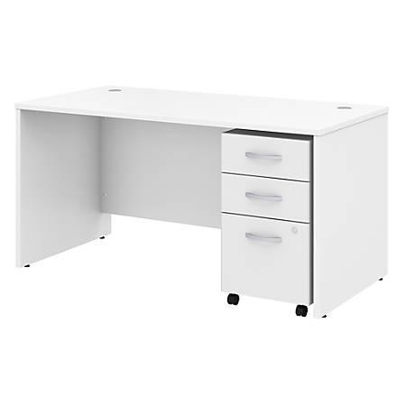 "Bush Business Furniture Studio C Office Desk with Mobile File Cabinet, 60""W x 30""D, White, Standard Delivery"