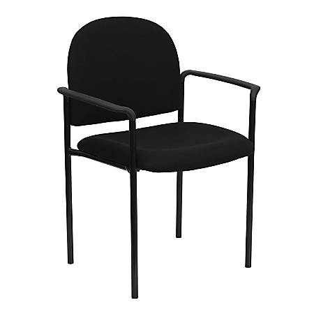 Flash Furniture Comfortable Stackable Steel Side Chair With Arms, Black