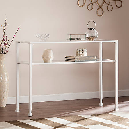Southern Enterprises Jaymes Metal/Glass Console Table, Rectangular, Clear/White