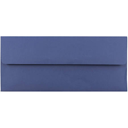 "JAM Paper® Booklet Envelopes With Gummed Closure, #10, 4 1/8"" x 9 1/2"", Presidential Blue, Pack Of 25"