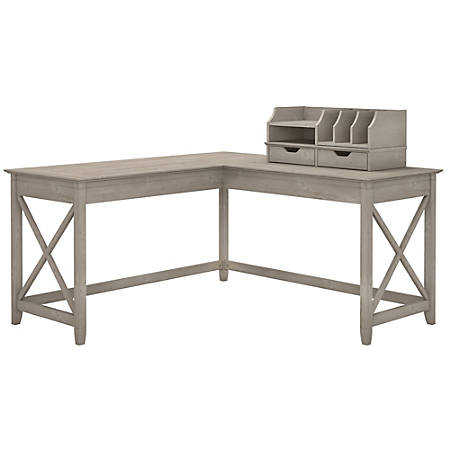 Fine Bush Furniture Key West 60W L Shaped Desk With Desktop Organizers Washed Gray Standard Delivery Item 2500523 Interior Design Ideas Jittwwsoteloinfo