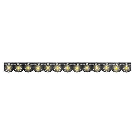 "Creative Teaching Press Chalk Lightbulb Border - (Scalloped Border) Shape - Lightbulb - 3"" Width x 420"" Length - Black, Yellow - 1 Each"