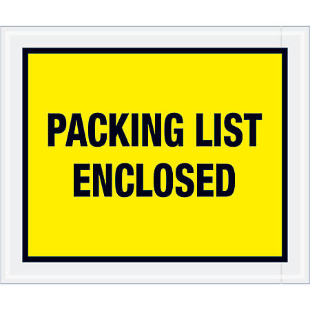 """Tape Logic® Preprinted Packing List Envelopes, Full Print, Packing List Enclosed, 10"""" x 12"""", Yellow, Case Of 500"""