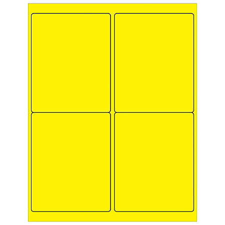 """Office Depot® Brand Labels, LL181YE, Rectangle, 4"""" x 5"""", Fluorescent Yellow, Case Of 400"""