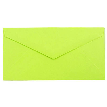 "JAM Paper® Booklet Envelopes, #7 3/4 Monarch, Straight Flap, 3 7/8"" x 7 1/2"", Lime Green, Pack Of 25"