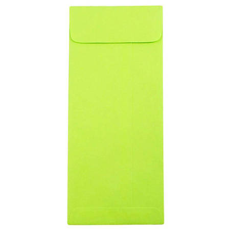"""JAM Paper® Policy Envelopes, #10, 4 1/8"""" x 9 1/2"""", Ultra Lime Green, Pack Of 25"""