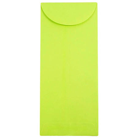 "JAM Paper® Open-End Policy Envelopes, #11, 4 1/2"" x 10 3/8"", Ultra Lime Green, Pack Of 25"