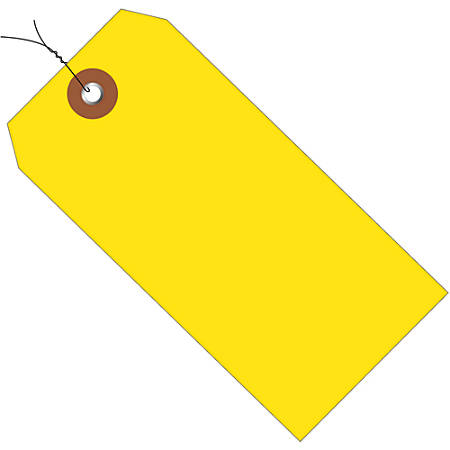 "Office Depot® Brand Prewired Plastic Shipping Tags, 6 1/4"" x 3 1/8"", Yellow, Case Of 100"