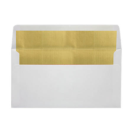 """LUX Photo Greeting Foil-Lined Invitation Envelopes With Peel & Press Closure, A7, 4 3/8"""" x 8 1/4"""", White/Gold, Pack Of 500"""