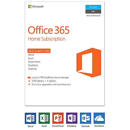 office 365 home 1 year subscription 5 pcsmacs product key card by office depot officemax. Black Bedroom Furniture Sets. Home Design Ideas