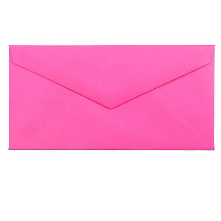 "JAM Paper® Booklet Envelopes, #7 3/4 Monarch, Straight Flap, 3 7/8"" x 7 1/2"", Fuchsia Hot Pink, Pack Of 25"