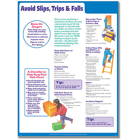 "ComplyRight Avoid Slips, Trips And Falls Poster, English, 18"" x 24"""