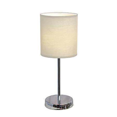 "Simple Designs Mini Basic Table Lamp, 11 7/8""H, White Shade/Chrome Base"